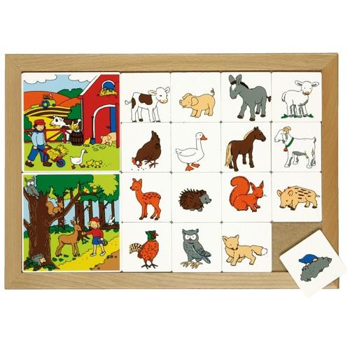 --- Rubriceerlotto dieren in het bos --- Twee inlegplanken rondom verschillende diergroepen waarbij de kinderen de kleine kaartjes met dieren bij de bijpassende voorbeeldplaat zoeken.   Beide inlegplanken kunnen door elkaar gebruikt worden, waardoor de oefening moeilijker wordt.  Formaat: 40 x 28 cm (l x b). 522 110