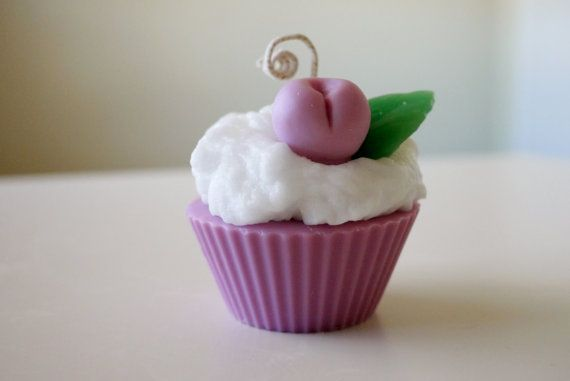Blueberry muffin scented cupcake candle on Etsy, $6.99