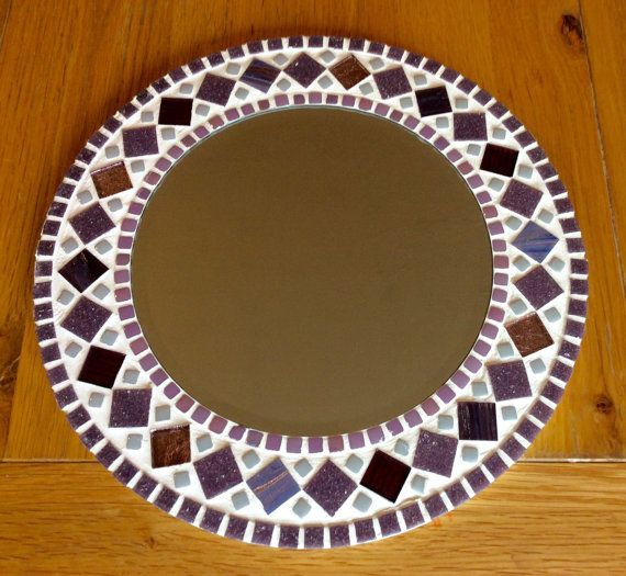 Round Mosaic Wall Mirror - Purple Mauve - 30cm