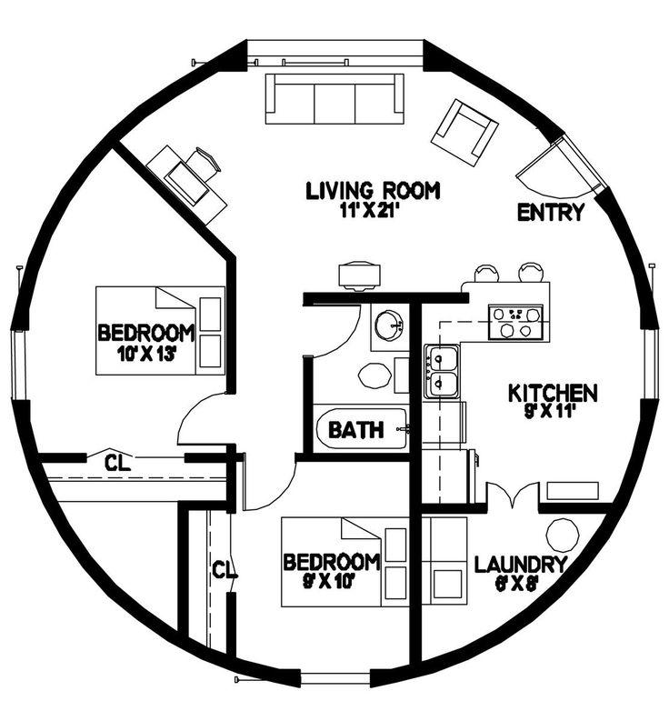 Plan Number: DL3202 Floor Area: 804 square feet Diameter: 32' 2 Bedroom 1 Bath