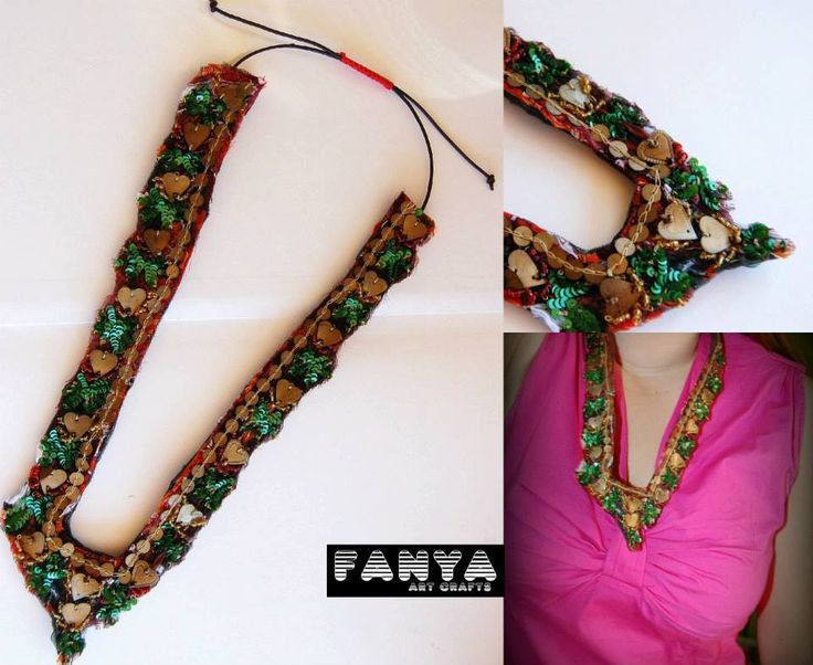 handsewn necklace ~ V neck style