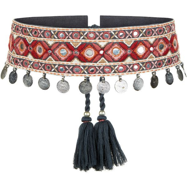 Accessorize Olivia Tassel Mirror Waist Belt ($49) ❤ liked on Polyvore featuring accessories, belts, mirror metal belt, mirror belt, coin belt, embellished belt and embroidered belt