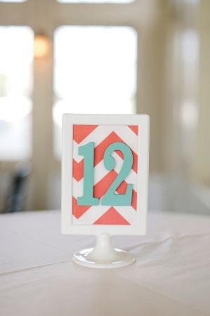 Add subtle touches of Chevron to your wedding like in Coral and aqua chevron table numbers Follow more of this pattern trend at http://www.arizonaweddings.com/