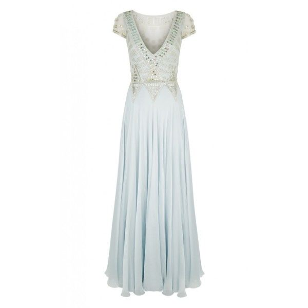 Temperley London Long Lantern Dress (5,420 NZD) ❤ liked on Polyvore featuring dresses, gowns, gown, blue, long white evening gown, formal evening dresses, long white gown, blue formal gown and formal gowns