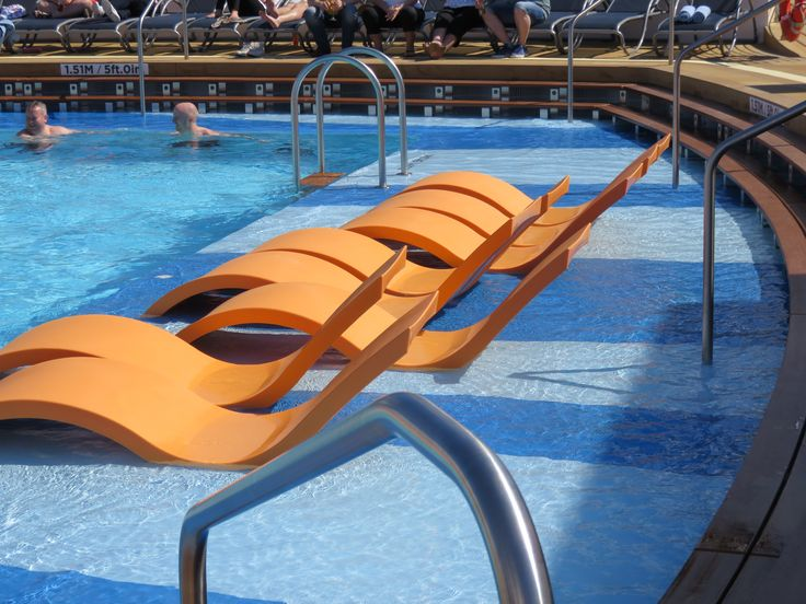 Royal Caribbean International - Naming of Athem of the Seas - Deck stairs in the pool to relax and cool off.