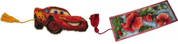 Вышивка крестиком на пластиковой канве. Слева - из мультфильма Тачки, справа - закладка Маки из набора для вышивания Anchor.