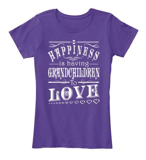 Happiness Is Having Grandchildren... Purple Women's T-Shirt Front