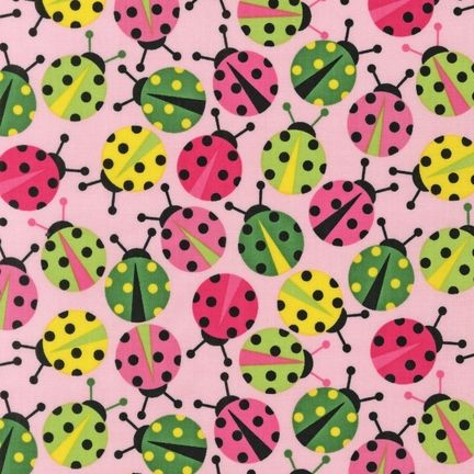 Robert Kaufman Fabric Urban Zoology Ladybug (Pink)
