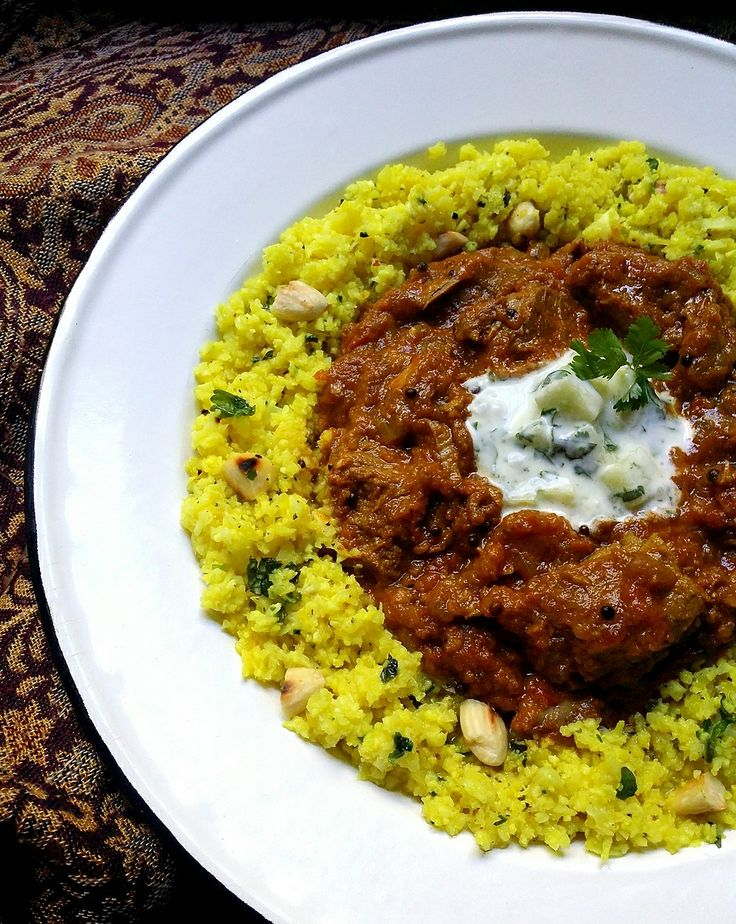 Low-Carb Tomato & Onion Beef Curry with Herby Cauliflower 'Couscous'   Scrumptious South Africa