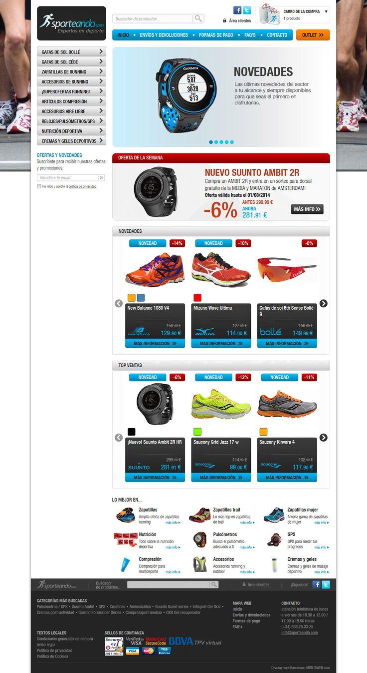 Sporteando.com es la #tiendaonline de referencia para los amantes del #running. Su #diseño #web es atractivo y usable.
