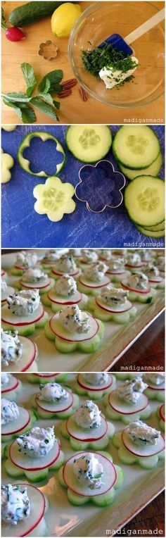"Garden Fresh Herbed Cucumber ""Flower"" Bites - great party food. use seedless cucumber and small flower cookie cutter to make these pretty ap..."