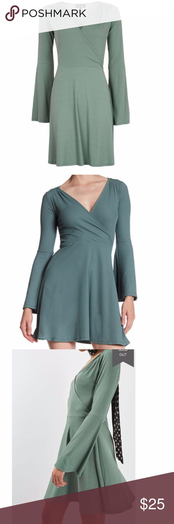 "Topshop Ribbed Bell Sleeve Dress NWT Beautiful brand new with tags Topshop Ribbed Bell Sleeve Dress in ""Duck Egg"" color. Item is in excellent condition with no flaws! Please check out my other listings as I do offer a bundle discount, I love offers! Topshop Dresses Midi"