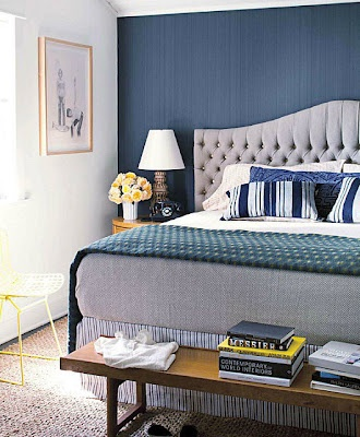 Love the colors and the headboard!