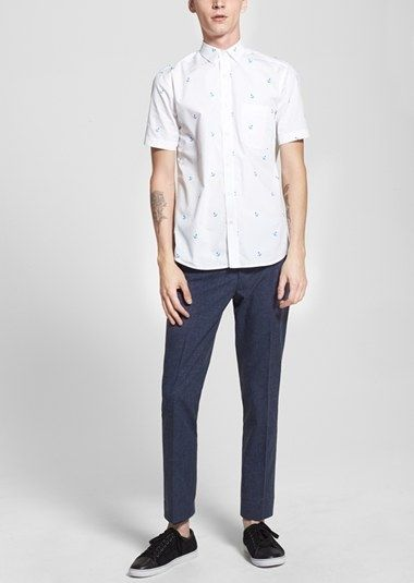 This Topman outfit is perfect for a casual night out. The short sleeve anchor print shirt pairs well with the suit trousers.