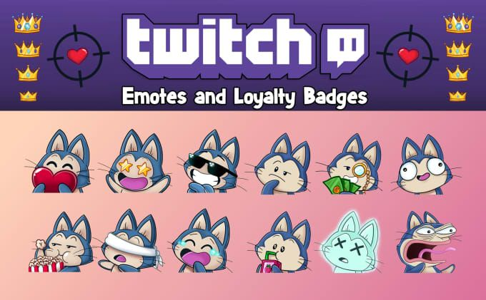Create custom twitch emotes sub badges by Drawingvild