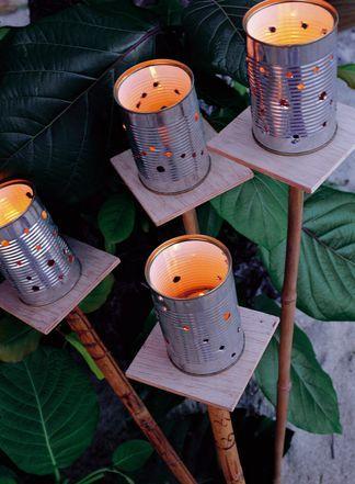 Le lattine dei legumi diventano allegre lanterne