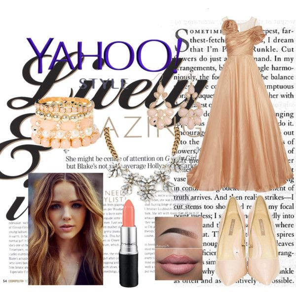 #yahoostyle by edithtoth on Polyvore featuring Marchesa, MAC Cosmetics, contestentry and yahoostyle