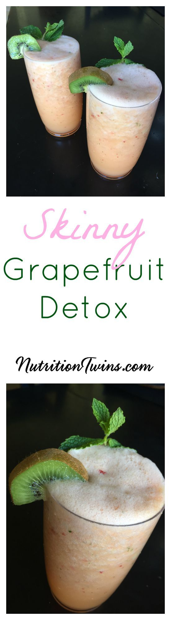 Grapefruit Detox Smoothie | Only 102 Calories | Helps flush bloat |Great for healthy skin, strong immune system |For Nutrition & Fitness Tips & RECIPES, PLEASE sign up for our FREE NEWSLETTER www.NutritionTwins.com