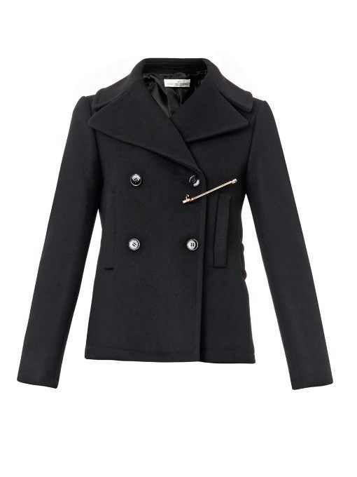 $626, Black Pea Coat: Golden Goose Deluxe Brand Jason Wool Blend Pea Coat. Sold by MATCHESFASHION.COM. Click for more info: https://lookastic.com/women/shop_items/325164/redirect