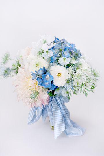 Delphinium and sweet pea bouquet