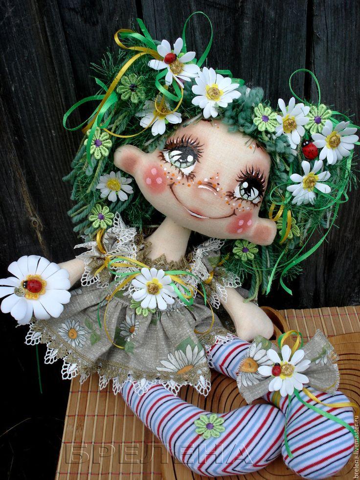 Купить Текстильная кукла Ромашковая феечка . - разноцветный, интерьерная кукла, текстильная кукла, подарок девушке