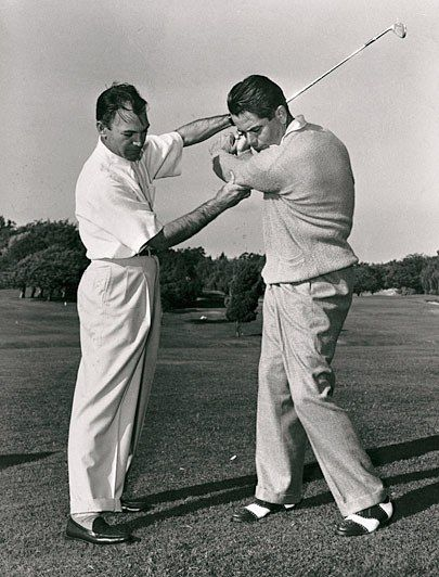 """After years of struggling with hooking the ball, Hogan discovered a way to cut that dreaded shot out of his game completely by hitting, well, a cut. He did this by pronating his left wrist (turning the palm down) as he took the club back and then cupping it (both part of his famous """"secret"""" he revealed in a Life Magazine article in 1955) at the top. The move got the clubface so open, that no matter how hard he swung coming down, he avoided shutting it too much. The result was a consistent…"""