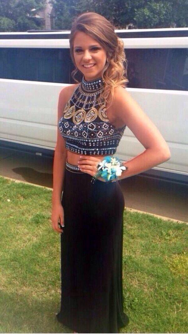 Crop top prom dresses