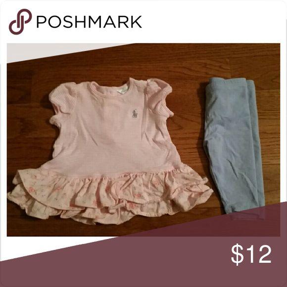 Ralph Lauren Shirt and Pants Cute Ralph Lauren outfit. Good condition.  No stains Ralph Lauren Matching Sets