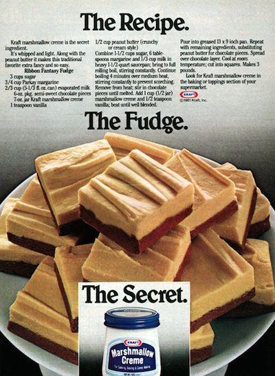 Ribbon Fantasy Fudge 1981 recipe from vintage Kraft advertising