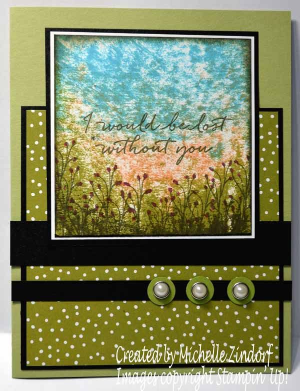 Block Technique Flower Field Stampin' Up! Card created by Michelle Zindorf - Blooms & Wishes