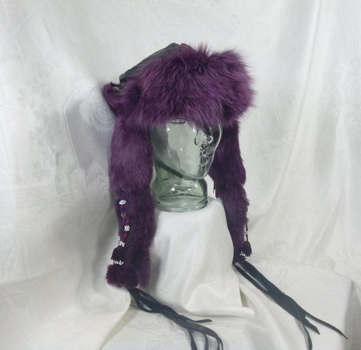 Vintage Fur Hat ~ Ladies Winter Hat ~ 1990's Boho Hippie Style ~ Burgundy Fur ~ Black Embossed Leather ~ Beads and Fringe ~ Handmade ~ by HeySardine on Etsy