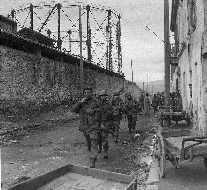Battle of Athens, Dec 1944-Jan 1945: British paras patrol on the perimeter of the Athens gas works. Fighting with communist guerrillas attempting to take over Greece was fierce. The British, and the forces of the Greek interim government, finally prevailed thanks to superior firepower and military tactics.