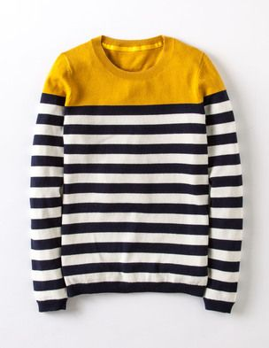 Love this black and white striped sweater with yellow color block on top... Boden!