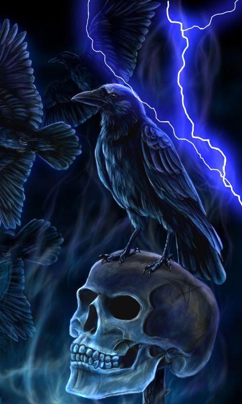 Blue evil skull