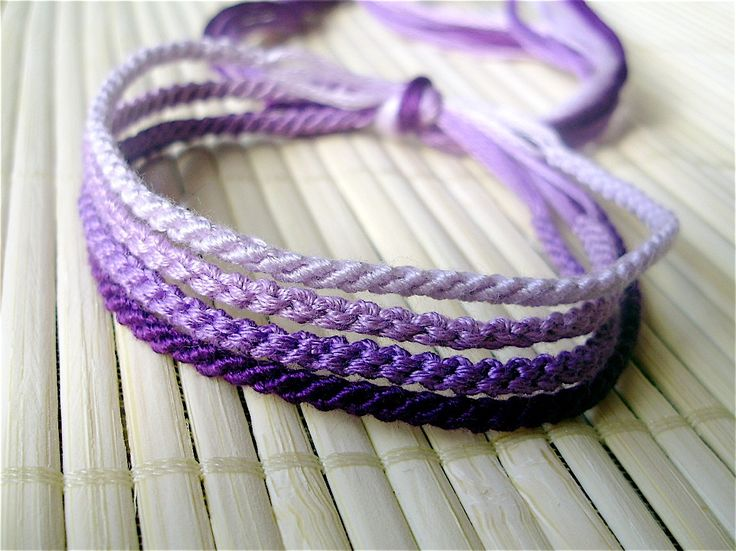 Shades of Purple Handmade Friendship Bracelet Set - Four Tiny Knotted Friendship Bracelets. $10.00, via Etsy.