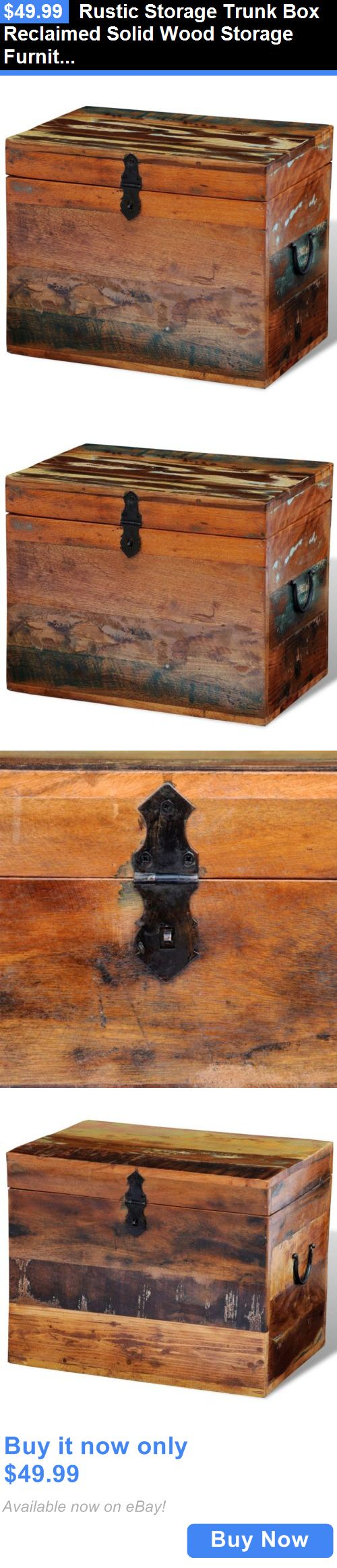 Antiques: Rustic Storage Trunk Box Reclaimed Solid Wood Storage Furniture Vintage Style BUY IT NOW ONLY: $49.99