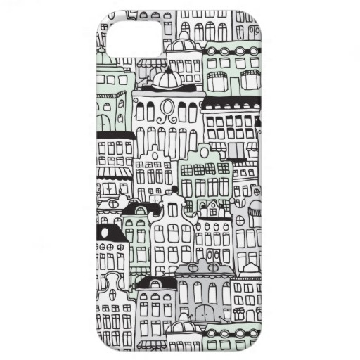 Dutch angle amsterdam illustration architectural home pattern iPhone 5 cover by Little Smilemakers Studio