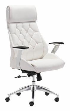 eleganter Chefsessel aus Leder in Weiß