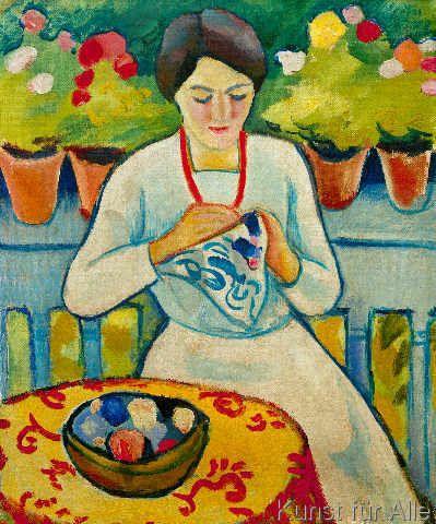 August Macke - Frau auf Balkon