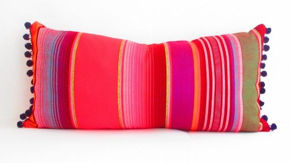 Red Long bolster pillow cover, Tribal Aztec Mexican Throw Boho chic, Lumbar Cushion Purple red black green white