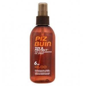 Piz Buin Tan&Protect Óleo Spray Acelerador de Bronzeado,  FPS 6, tem uma  rápida absorção, não gordurosa, fácil de aplicar óleo nutre a pele deixando-a suave, com um belo toque brilhante.  Piz Buin Tan&Protect Óleo Spray Acelerador de Bronzeado , é resistente à água e ao suor. Protecção baixa.