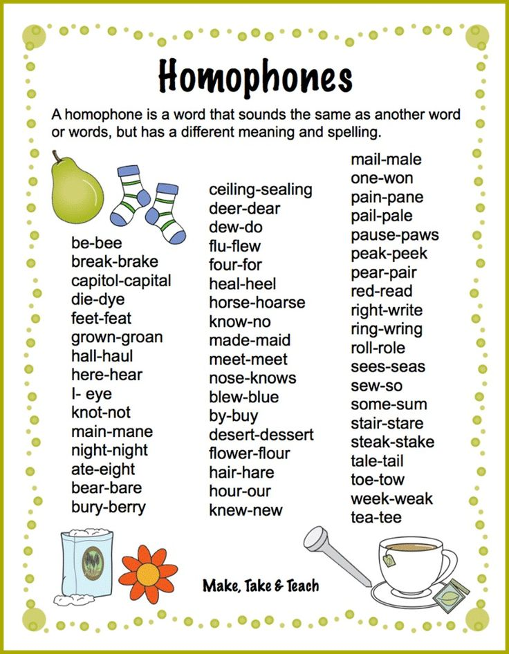 Just click the following link to download this list of homophones: List of Homophones A homophone is a word that sounds the same as another word or words, but has a different meaning and spelling.  Homophones can really trip up our young readers and writers.  It's sometimes difficult for them to know for sure which spelling …