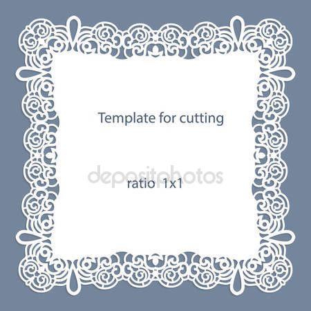 Descargar - Tarjeta de felicitación con borde calado, tapetito de papel debajo de la torta, la plantilla para el corte, invitación de la boda, placa decorativa es laser corte — Ilustración de stock #135099476