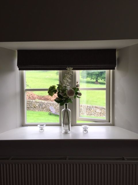 Large roman blind inside a window recess #designedbyjustso #romanblind #wemyssfabric #interiors #homedecor