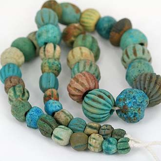 Collectible Ancient Faience Bead StrandDescription:Gorgeous collection of very old faience beads with worn robust condition, sourced from Afghanistan  Iran ...