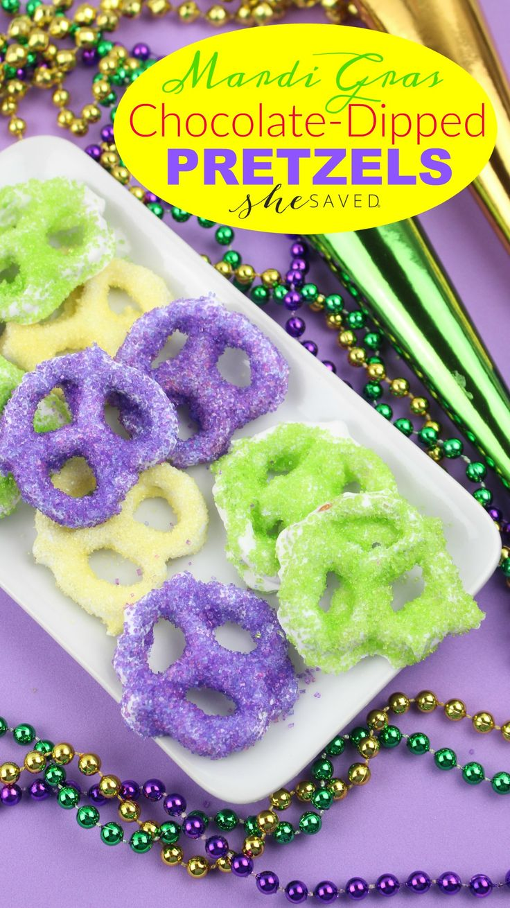 Fun and festive, these colorful chocolate-dipped pretzels are perfect for your Mardi Gras celebration!