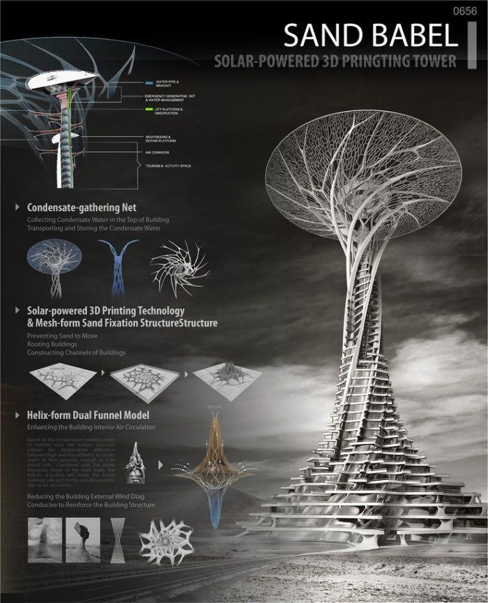 3ders.org - Sand Babel: Solar-powered 3D printed skyscraper made with desert sands | 3D Printer News & 3D Printing News