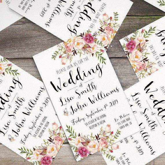 Gorgeous wedding invitation with rustic floral watercolor elements and matching items.  This digital printable set includes: