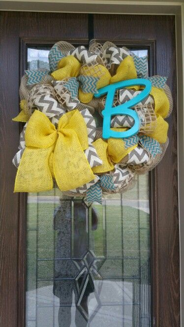 Burlap wreath with yellow, teal and gray chevron ribbon