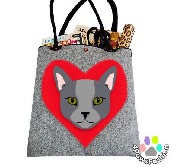 Russian Blue shorthair cat pattern gray felt shoulder tote bag carry all shopper cat lady gift / 4PawsFashion